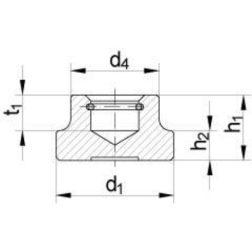 Stahl blan DIN 6311 Druckstück mit Sprengring S 25 Form S Gewindestift M 12